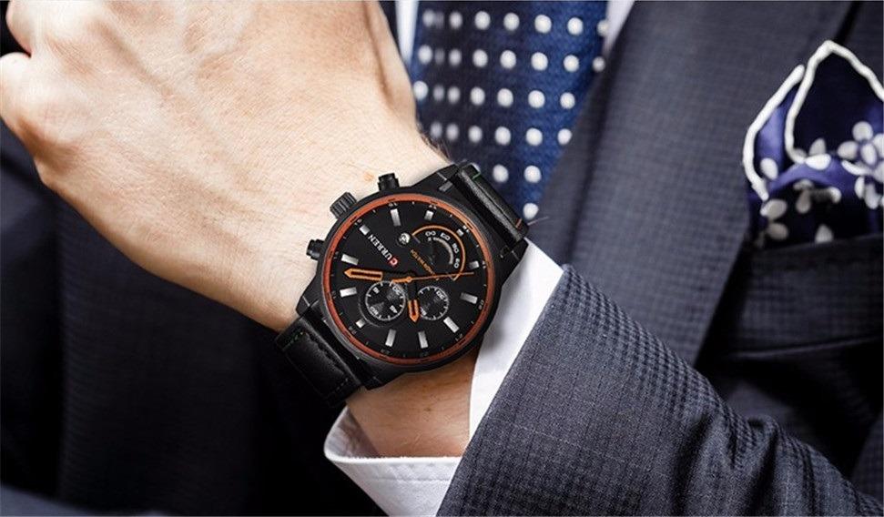 885bbd3e17a Carregando zoom... masculino curren relógio 2 relógio masculino curren  original pulseira couro calendário