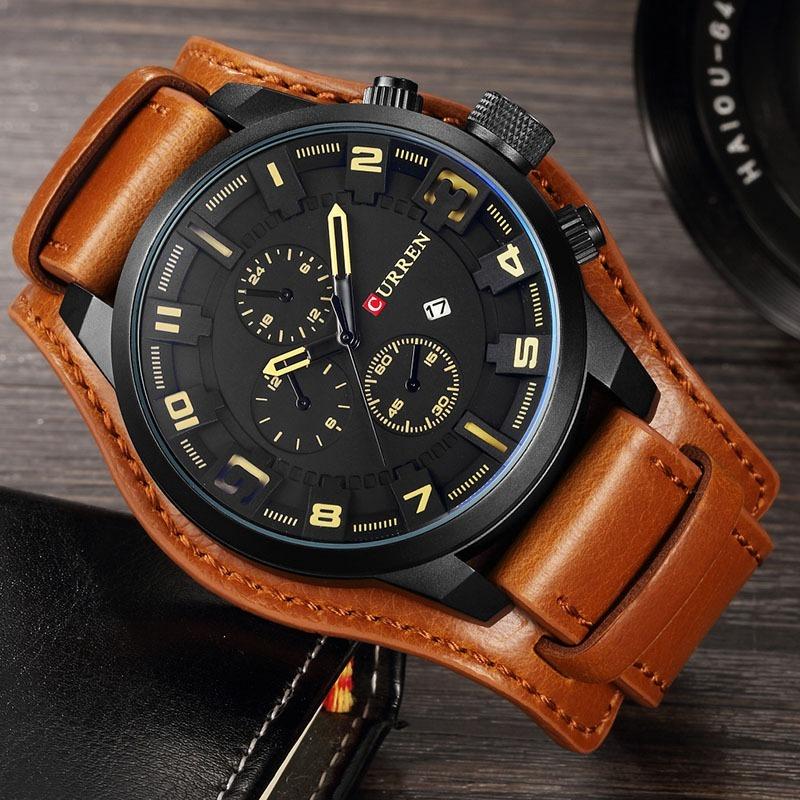 2ce49129141 Relógio Masculino Curren Original Pulseira D Couro Esportivo - R ...