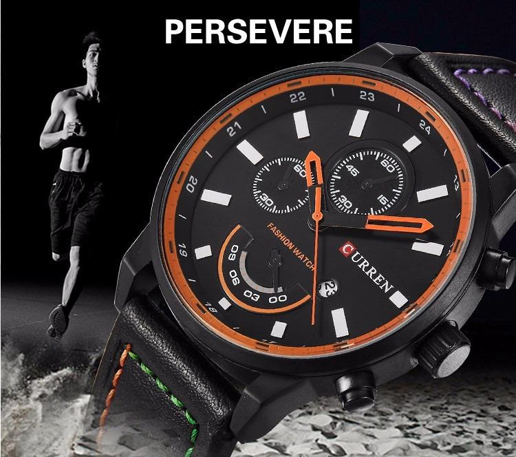 7124281d380 relógio masculino curren original pulseira couro calendário · relógio  masculino curren