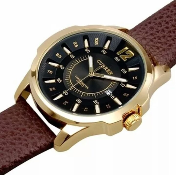 4be33dd7044 Relógio Masculino Curren 8123 Pulseira Couro Marron - R  58
