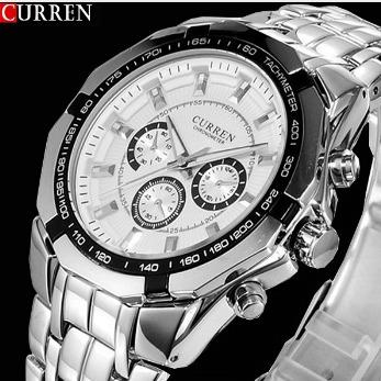 58251fc05e0 Relógio Masculino Curren A Prova D Água Pulseira Aço Inox - R  120 ...