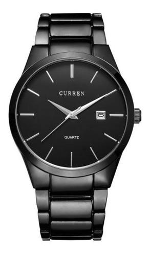 relógio masculino curren analógico 8106 preto original luxo