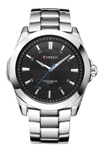 relógio masculino curren analógico 8109 original prata preto