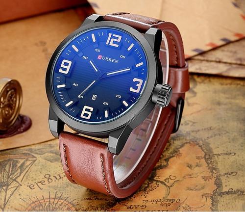 relógio masculino curren casual luxo + pulseira ajustável