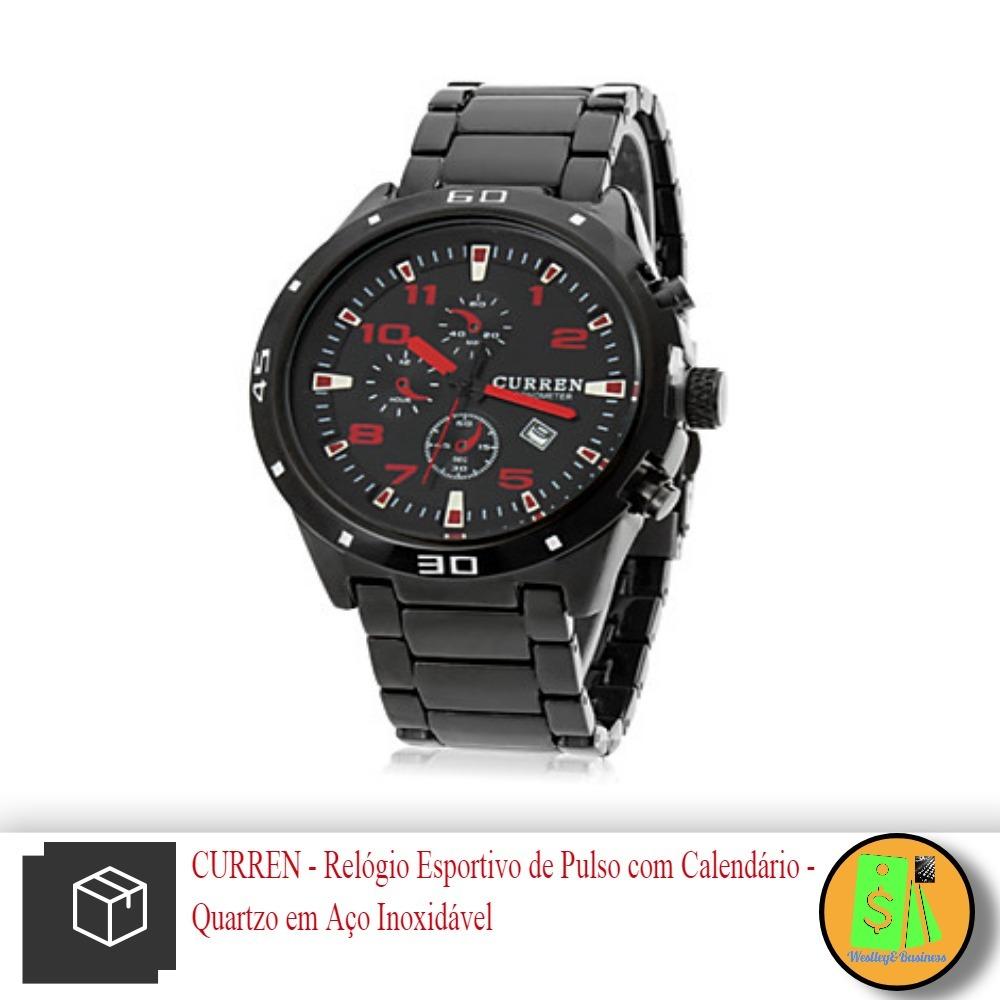 b92c5a78af0 relógio masculino curren com calendário pulseira em aço. Carregando zoom.