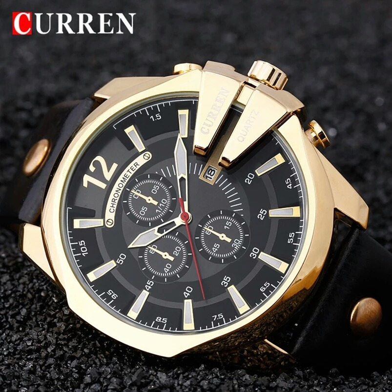 898f3067e9f relógio masculino curren dourado original quartzo luxo. Carregando zoom.