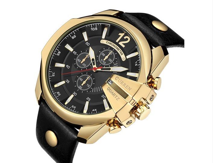 9241d214b12 Relógio Masculino Curren Dourado Pulseira De Couro Original - R  91 ...