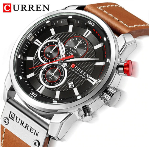 relógio masculino curren esporte pulseira de couro original