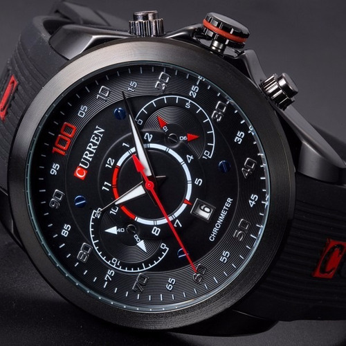 relógio masculino curren esportivo preto pulseira silicone
