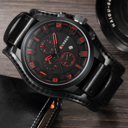 relógio masculino curren importado original couro promoção