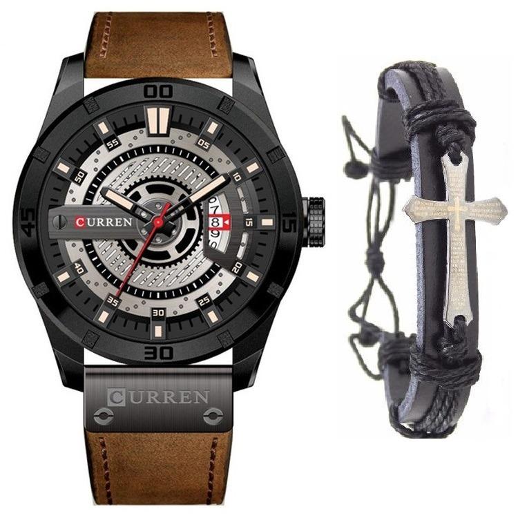2340236877e Relógio Masculino Curren Luxo Aço Inox + Pulseira Crucifixo - R  159 ...