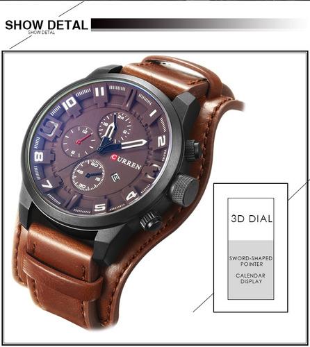 relógio masculino curren luxo militar pulseiro em couro