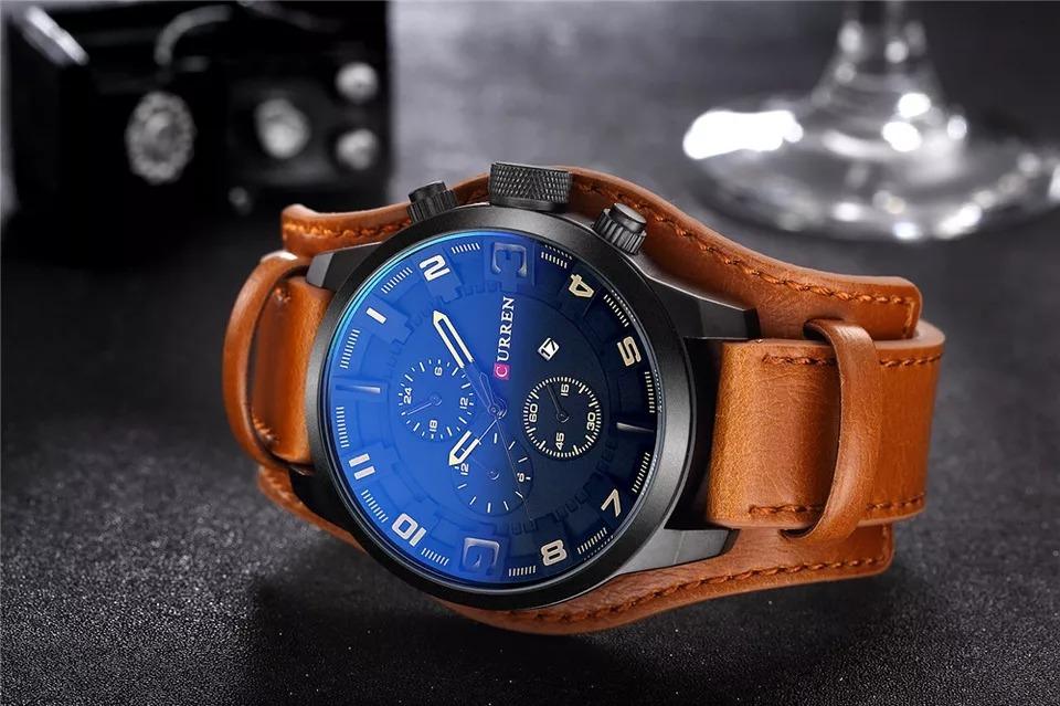 be00787a1f6 relógio masculino curren original c-8225 couro calendário. Carregando zoom.