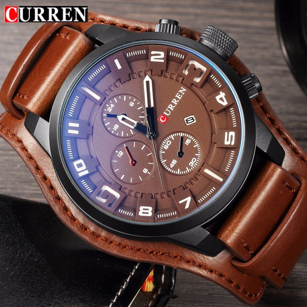 93c304bafb3 relógio masculino curren original couro certificado garantia. Carregando  zoom.