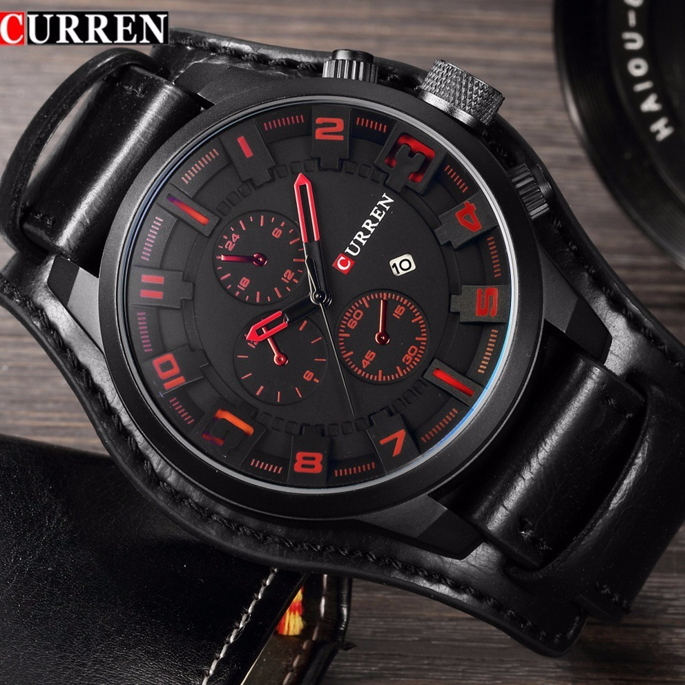 da0f85ba1ee relógio masculino curren original couro preto   fundo preto. Carregando  zoom.