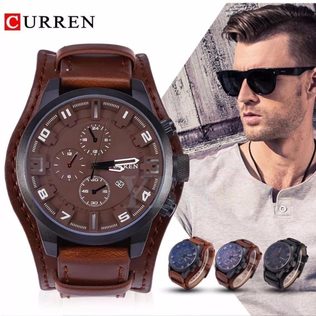 5ce52a550f9 relógio masculino curren original couro todas cores garantia. Carregando  zoom.