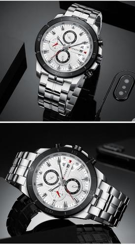 relógio masculino curren original men watch top + brinde