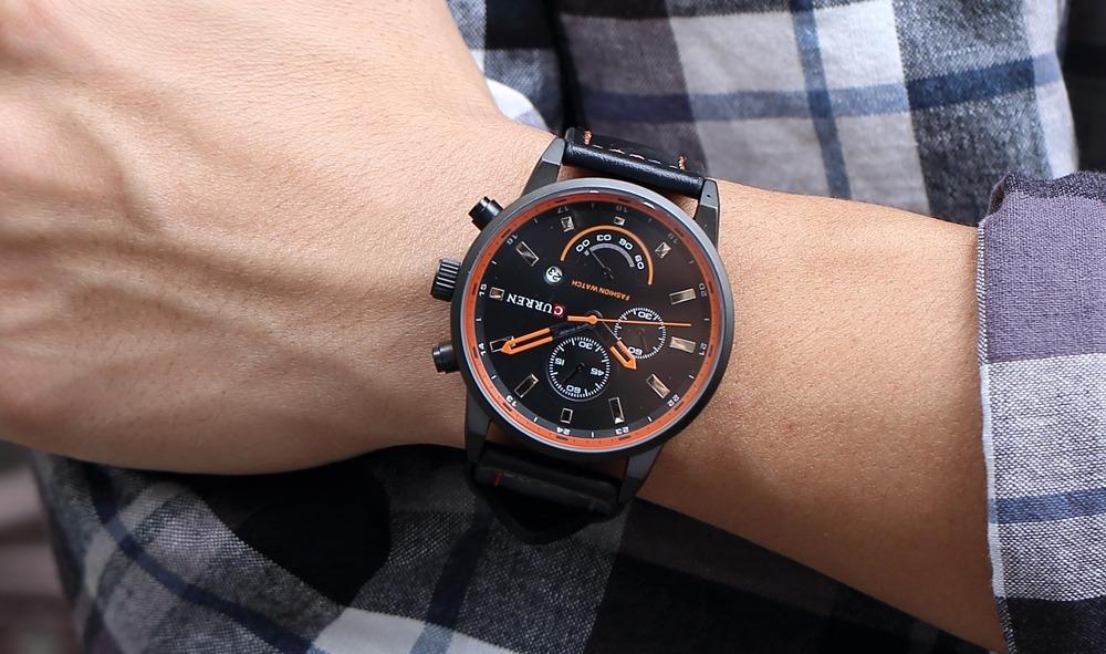 9861e9fdd11 relógio masculino curren original pulseira couro calendário. Carregando  zoom.