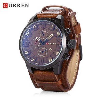 ec899755fc9 Relógio Masculino Curren Original Pulseira Couro - Presente - R  85 ...