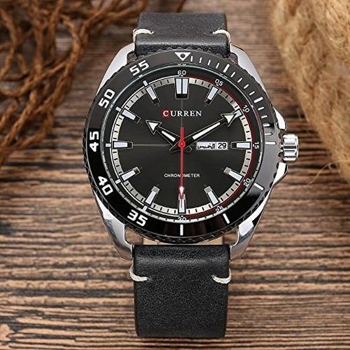 relógio masculino curren pulseira couro esportivo original