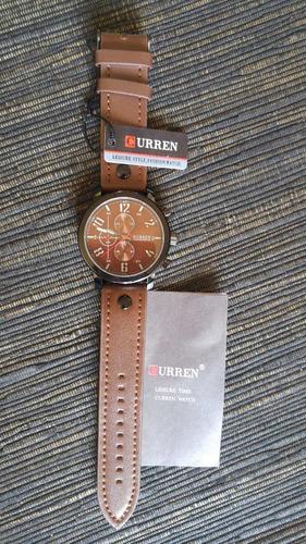 relógio masculino curren pulseira couro novo lindo