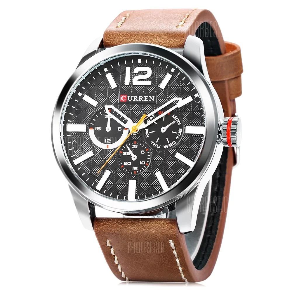 6eec4c1c77316 relógio masculino curren pulseira de couro a pronta entrega. Carregando  zoom.