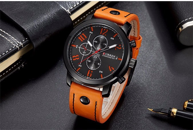 555bdeadf50 Relógio Masculino Curren Pulseira De Couro Esportivo Militar - R ...