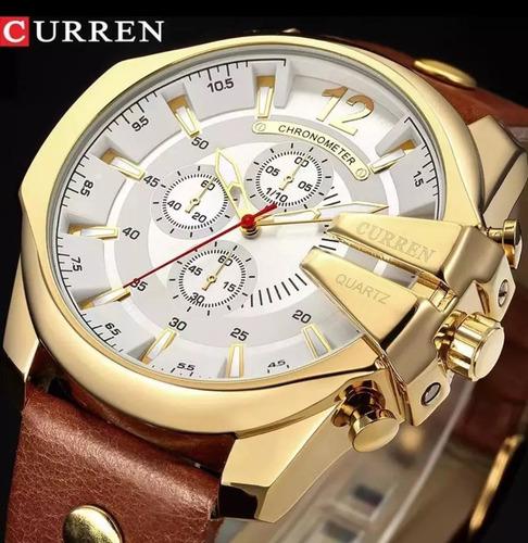 relógio masculino curren pulseira de couro visor grande moda