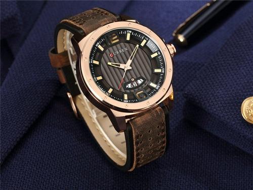 relógio masculino curren social luxo pulseira couro + colar