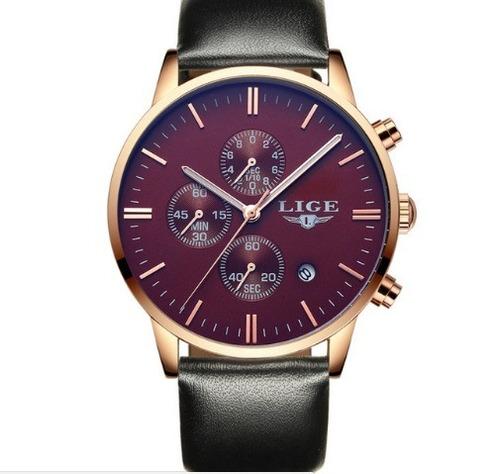 relógio masculino da marca  lige original pulseira de couro