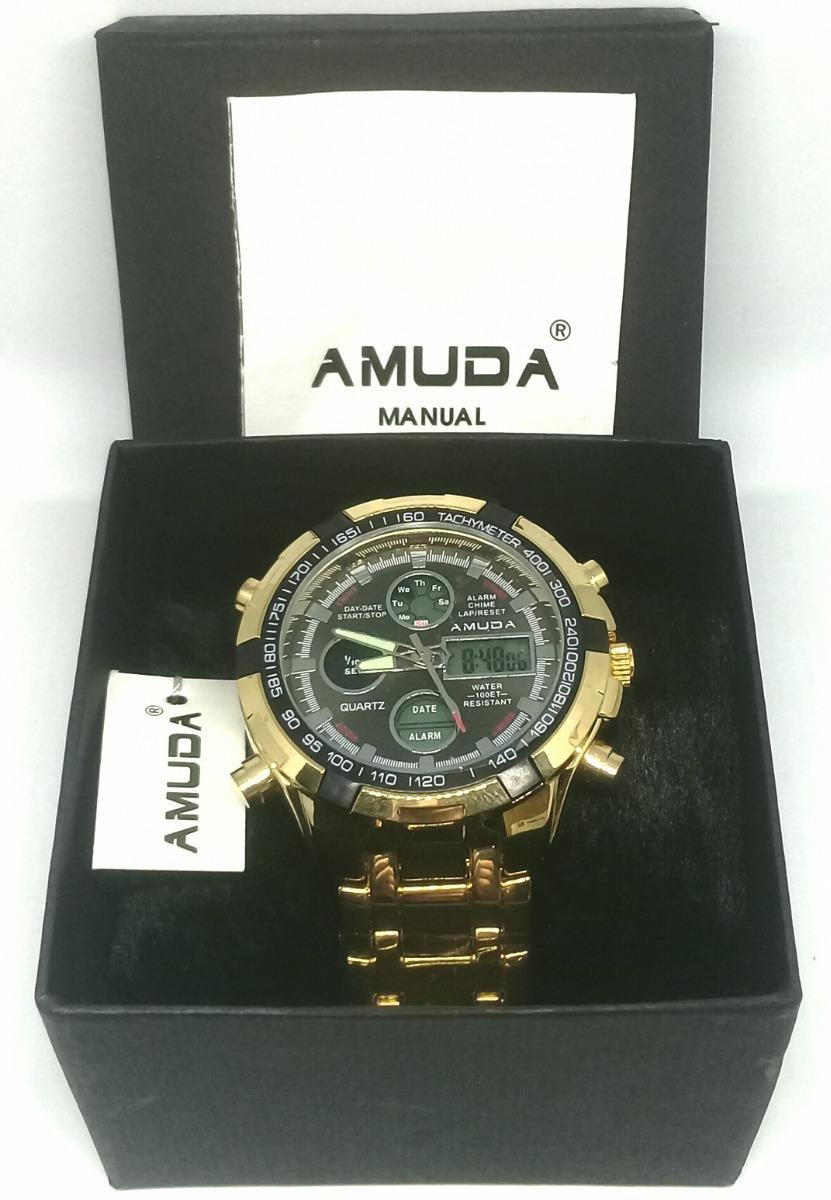 a01b1b0eeeb relógio masculino de luxo dourado amuda original importado. Carregando zoom.
