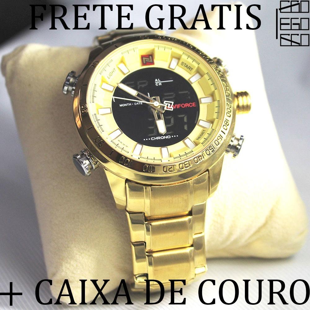8073fdaa56e relógio masculino de luxo dourado digital analogico aço inox. Carregando  zoom.
