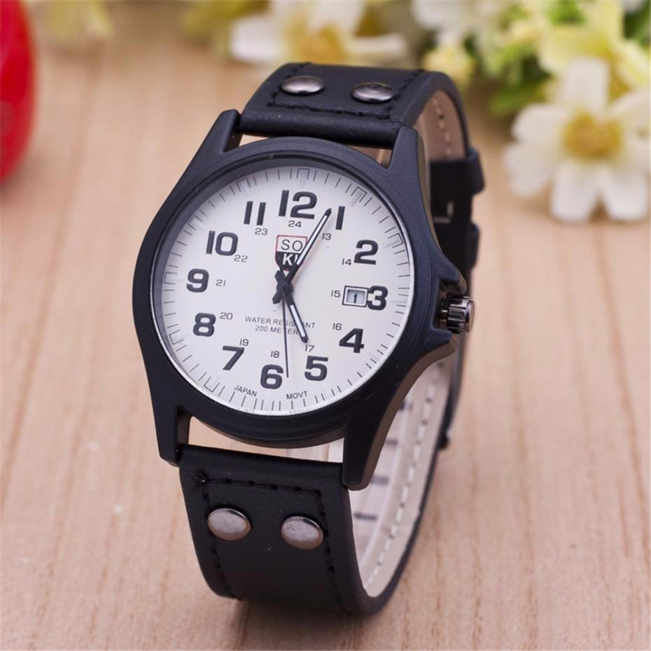 3e57542cbc2 relógio masculino de luxo pulseira de couro barato e bonito. Carregando zoom .