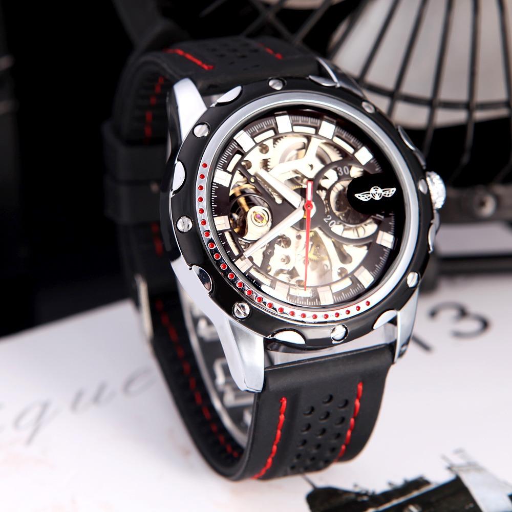 a98db8db41a relógio masculino de luxo winner importado de corda borracha. Carregando  zoom.