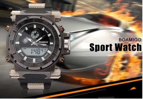 relógio masculino de pulso modelo esportivo boamigo cromado