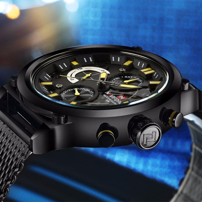 e9bf0dfb644 relógio masculino de pulso naviforce malha data militar aço. Carregando  zoom.