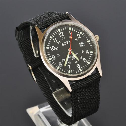 relógio masculino de pulso soki unisex preto promoção barato