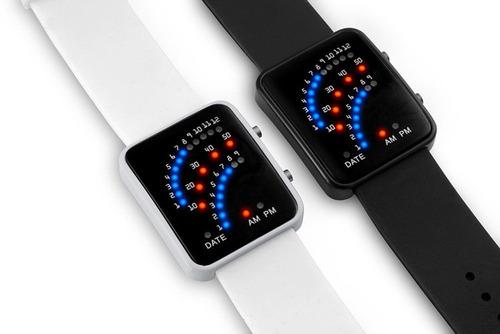 relógio masculino digital 29 led pulseira silicone - preto