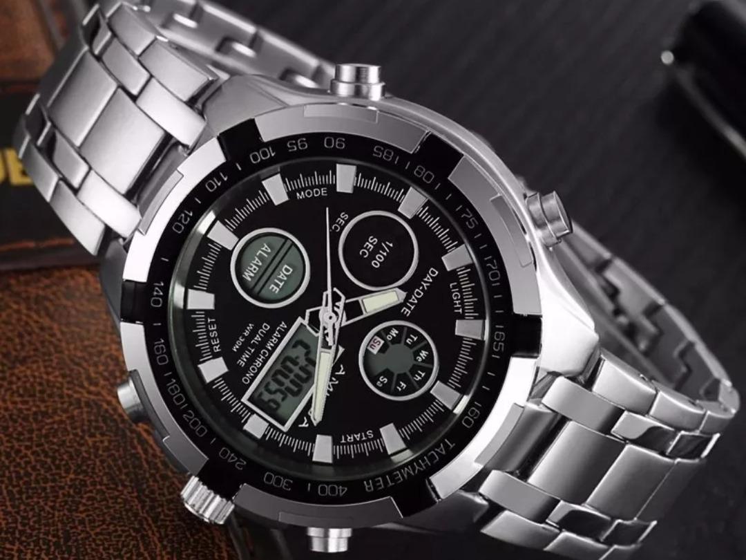 38f08046998 relógio masculino digital analógico luxo amuda +brinde. Carregando zoom.