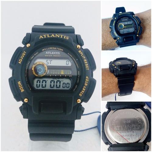 relógio masculino digital atlantis original estilo g shock