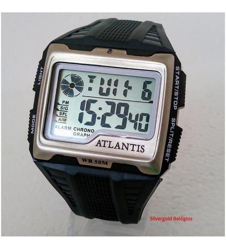 relógio masculino digital atlantis quadrado  original novo