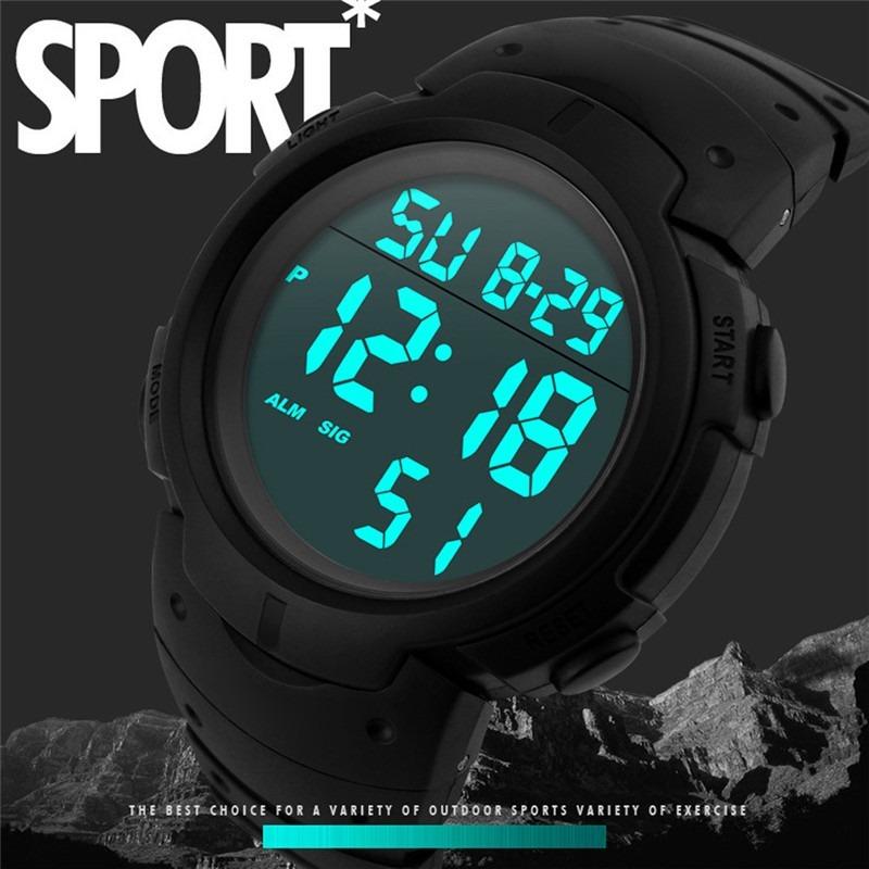 3d1cbcabe43 relógio masculino digital led varias funções esportivo flex. Carregando  zoom.