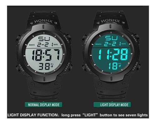 relógio masculino digital led varias funções esportivo flex