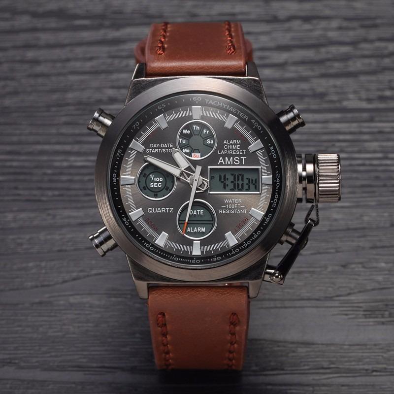 fb37d8dab94 relógio masculino digital ponteiro couro a prova d água luz. Carregando  zoom.