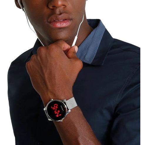 relogio masculino digital prata lince led vermelho mdm4586l