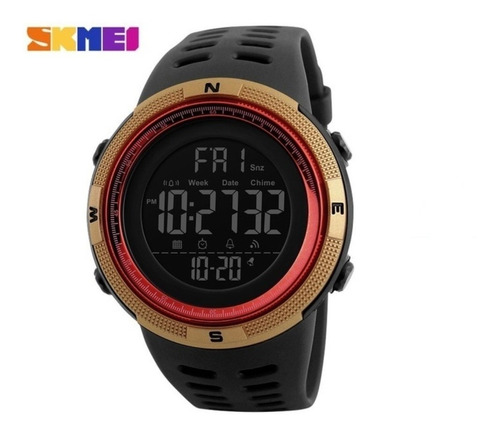 relógio masculino digital prova d'água skmei 1251 dourado