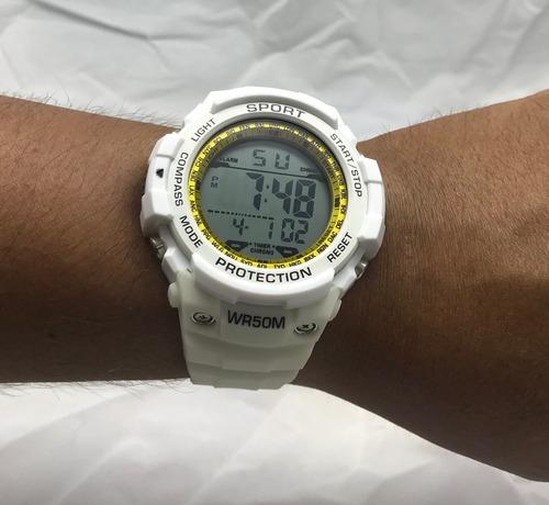 relogio masculino digital pulseira em silicone branco bonito