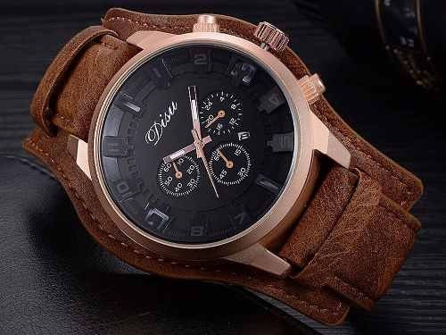 50505f6731062 Relógio Masculino Disu Bracelete De Couro Marrom Frete Gráti - R ...