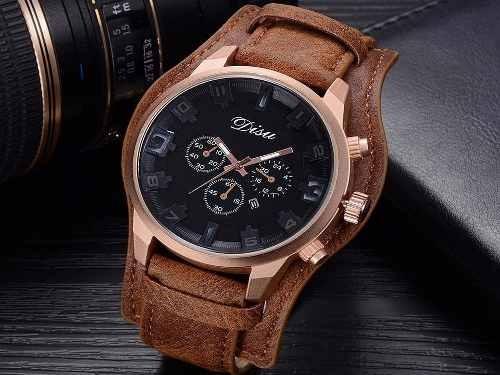 67cfcc02b9cfa Relógio Masculino Disu Bracelete De Couro Preto E Marrom - R  59,99 ...