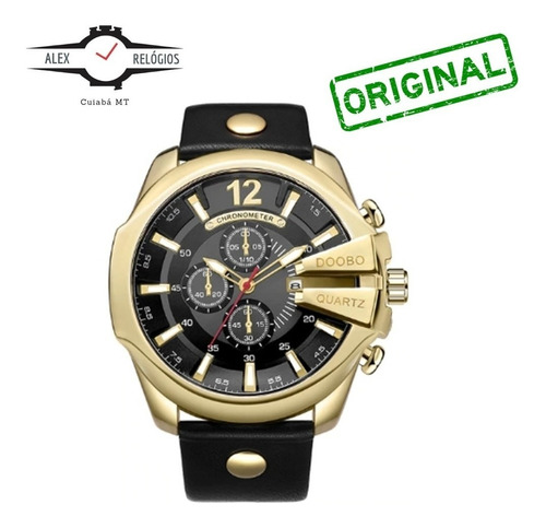 relógio masculino doobo dourado com preto pulseira couro